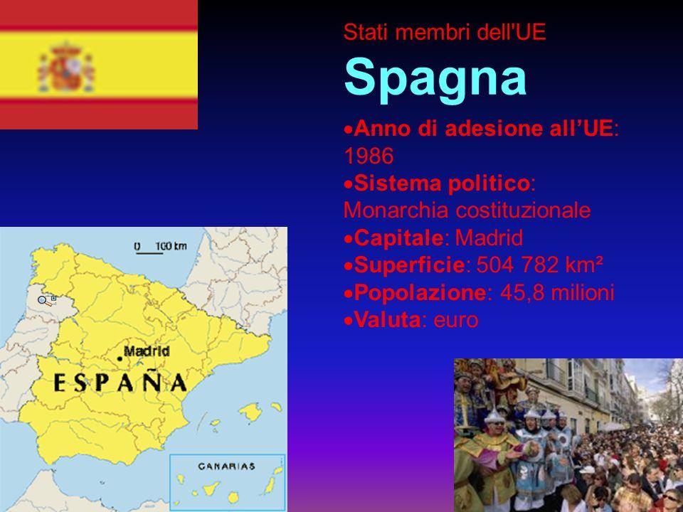 Stati membri dell UE Spagna Anno di adesione allUE: 1986 Sistema politico: Monarchia costituzionale Capitale: Madrid Superficie: 504 782 km² Popolazione: 45,8 milioni Valuta: euro