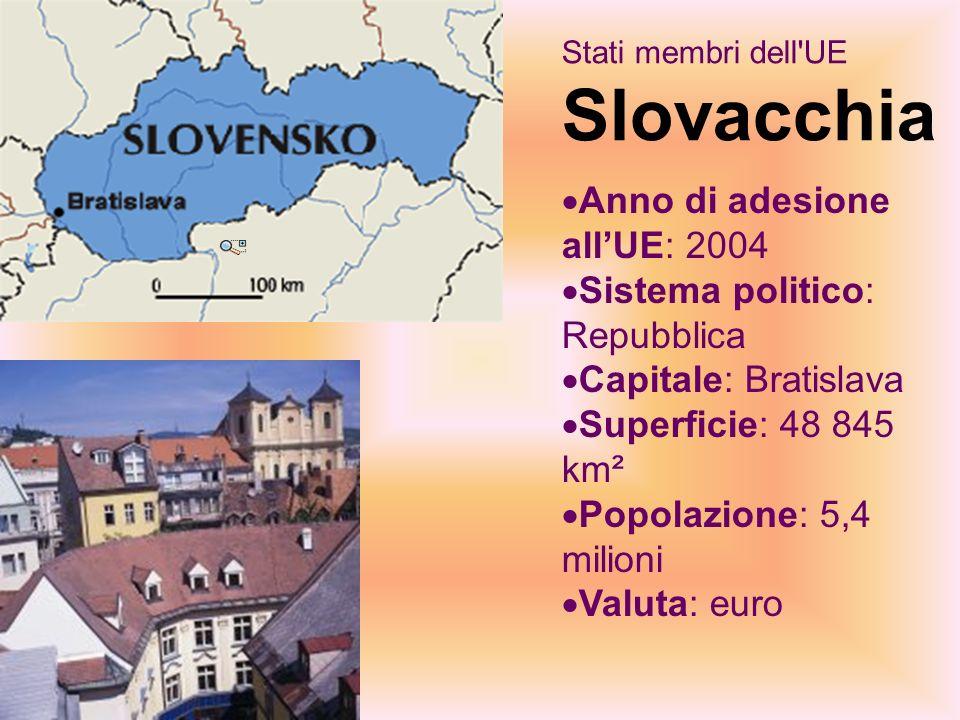 Stati membri dell UE Slovacchia Anno di adesione allUE: 2004 Sistema politico: Repubblica Capitale: Bratislava Superficie: 48 845 km² Popolazione: 5,4 milioni Valuta: euro