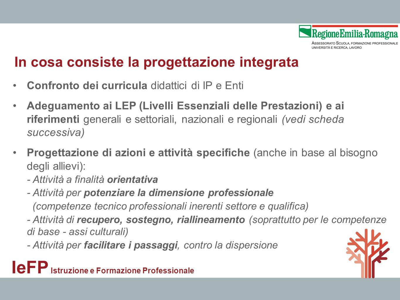 IeFP Istruzione e Formazione Professionale Confronto dei curricula didattici di IP e Enti Adeguamento ai LEP (Livelli Essenziali delle Prestazioni) e