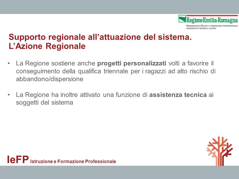 IeFP Istruzione e Formazione Professionale La Regione sostiene anche progetti personalizzati volti a favorire il conseguimento della qualifica trienna