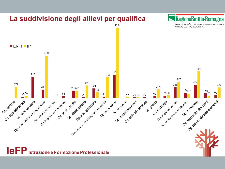 IeFP Istruzione e Formazione Professionale La suddivisione degli allievi per qualifica