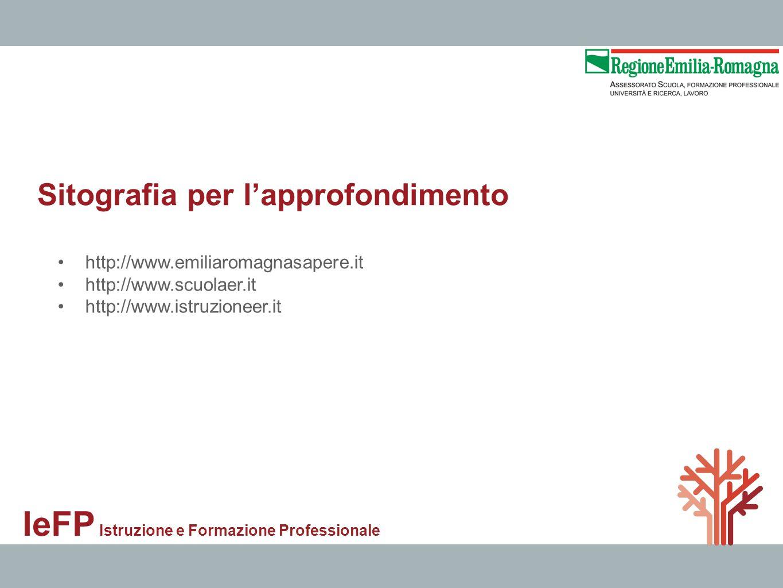 Sitografia per lapprofondimento IeFP Istruzione e Formazione Professionale http://www.emiliaromagnasapere.it http://www.scuolaer.it http://www.istruzi