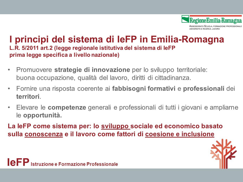IeFP Istruzione e Formazione Professionale Promuovere strategie di innovazione per lo sviluppo territoriale: buona occupazione, qualità del lavoro, di