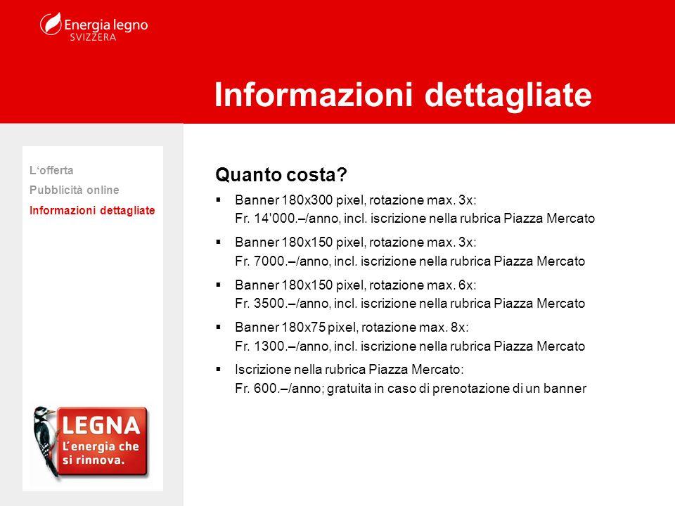 Quanto costa? Banner 180x300 pixel, rotazione max. 3x: Fr. 14'000.–/anno, incl. iscrizione nella rubrica Piazza Mercato Banner 180x150 pixel, rotazion