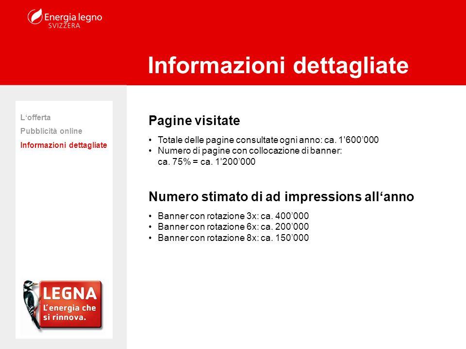 Pagine visitate Totale delle pagine consultate ogni anno: ca. 1'600000 Numero di pagine con collocazione di banner: ca. 75% = ca. 1'200000 Numero stim