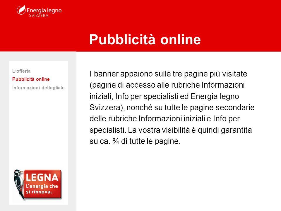 I banner appaiono sulle tre pagine più visitate (pagine di accesso alle rubriche Informazioni iniziali, Info per specialisti ed Energia legno Svizzera