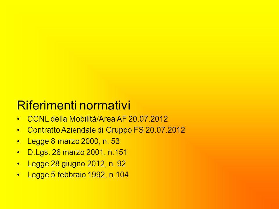 Riferimenti normativi CCNL della Mobilità/Area AF 20.07.2012 Contratto Aziendale di Gruppo FS 20.07.2012 Legge 8 marzo 2000, n. 53 D.Lgs. 26 marzo 200