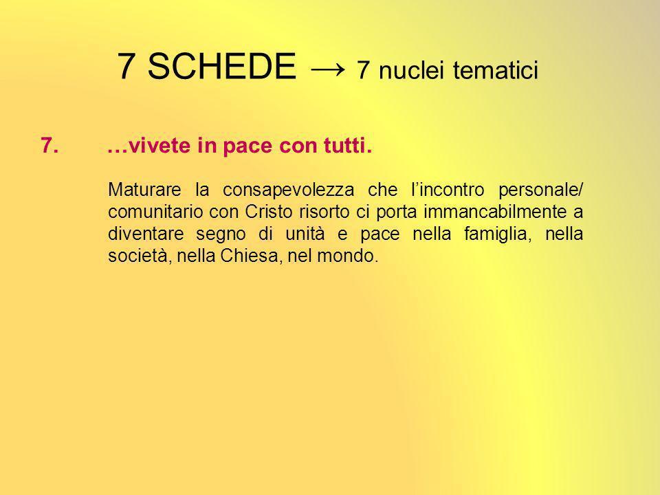 7 SCHEDE 7 nuclei tematici 7.…vivete in pace con tutti.