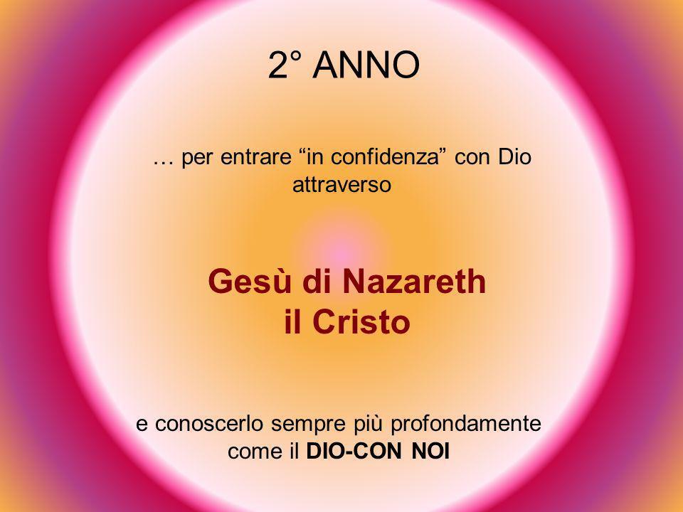 2° ANNO … per entrare in confidenza con Dio attraverso Gesù di Nazareth il Cristo e conoscerlo sempre più profondamente come il DIO-CON NOI