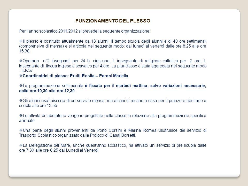 FUNZIONAMENTO DEL PLESSO Per lanno scolastico 2011/2012 si prevede la seguente organizzazione: Il plesso è costituito attualmente da 18 alunni. Il tem