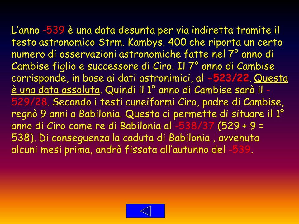 Lanno -539 è una data desunta per via indiretta tramite il testo astronomico Strm. Kambys. 400 che riporta un certo numero di osservazioni astronomich