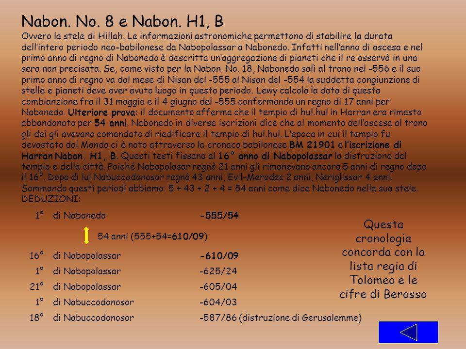 Nabon. No. 8 e Nabon. H1, B Ovvero la stele di Hillah. Le informazioni astronomiche permettono di stabilire la durata dellintero periodo neo-babilones