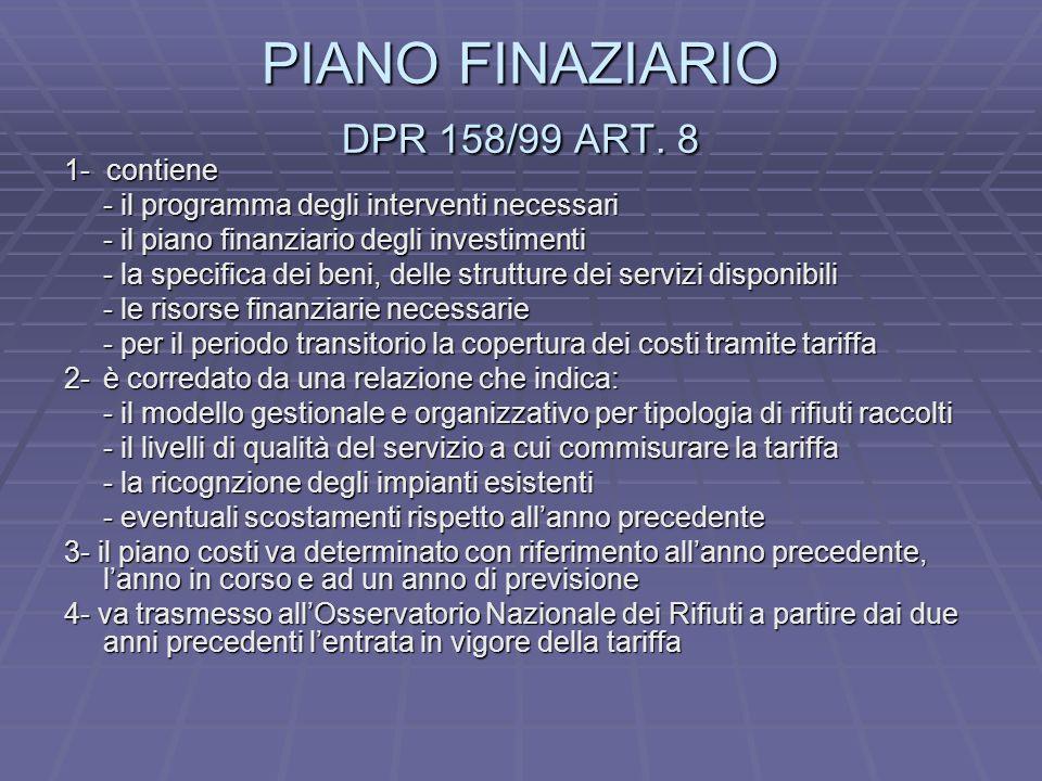 PIANO FINAZIARIO DPR 158/99 ART.