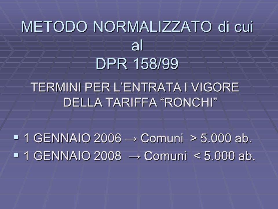 METODO NORMALIZZATO di cui al DPR 158/99 TERMINI PER LENTRATA I VIGORE DELLA TARIFFA RONCHI 1 GENNAIO 2006 Comuni > 5.000 ab.