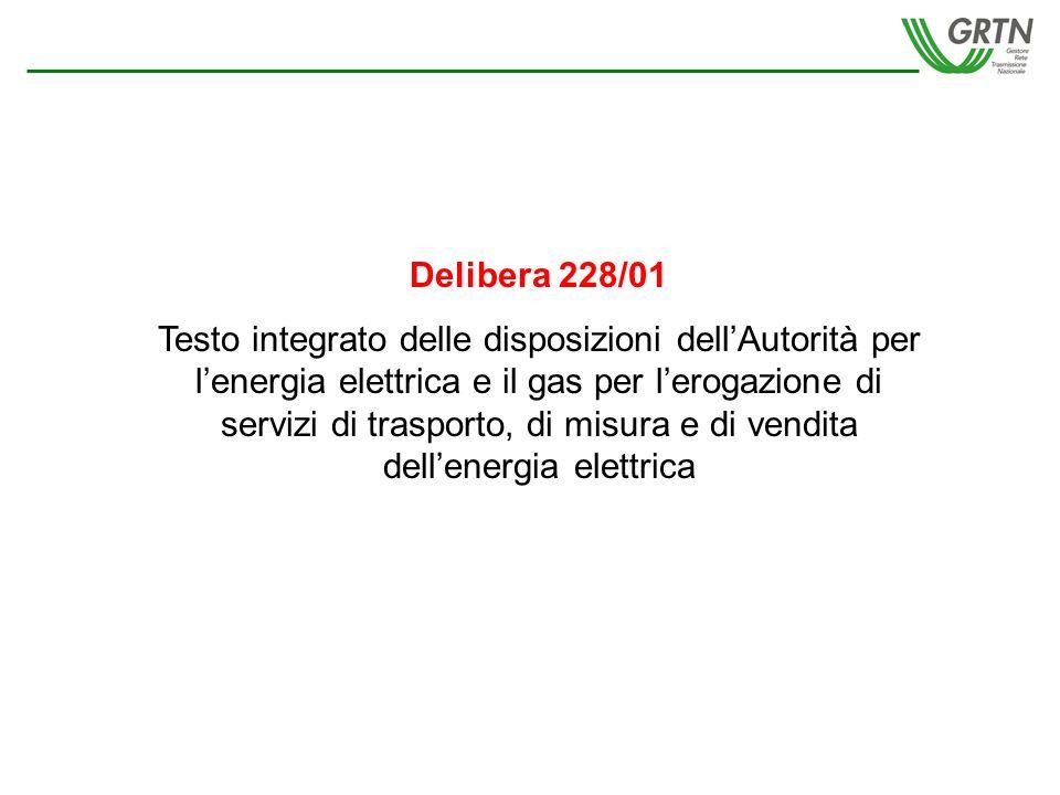 Delibera 228/01 Testo integrato delle disposizioni dellAutorità per lenergia elettrica e il gas per lerogazione di servizi di trasporto, di misura e di vendita dellenergia elettrica
