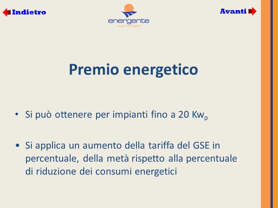 Premio energetico Si può ottenere per impianti fino a 20 Kw p Si applica un aumento della tariffa del GSE in percentuale, della metà rispetto alla percentuale di riduzione dei consumi energetici Avanti Indietro