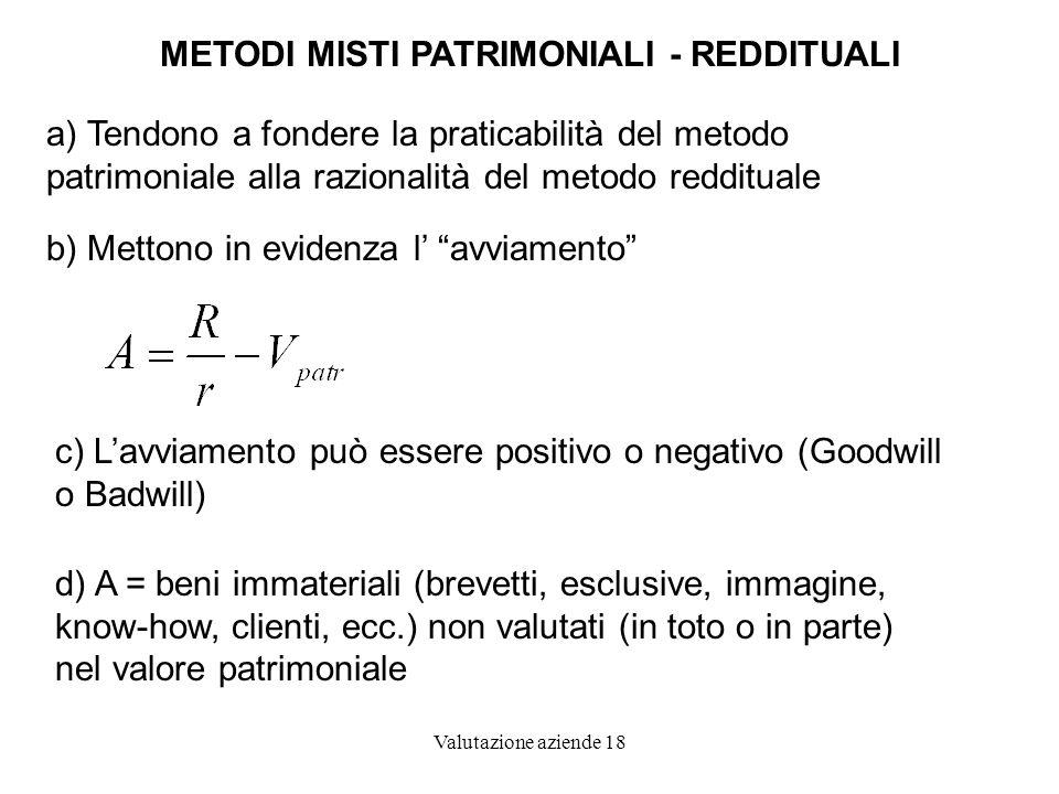 Valutazione aziende 18 METODI MISTI PATRIMONIALI - REDDITUALI a) Tendono a fondere la praticabilità del metodo patrimoniale alla razionalità del metod