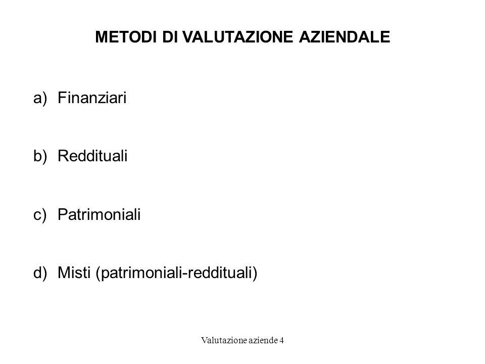 Valutazione aziende 4 METODI DI VALUTAZIONE AZIENDALE a)Finanziari b)Reddituali c)Patrimoniali d)Misti (patrimoniali-reddituali)