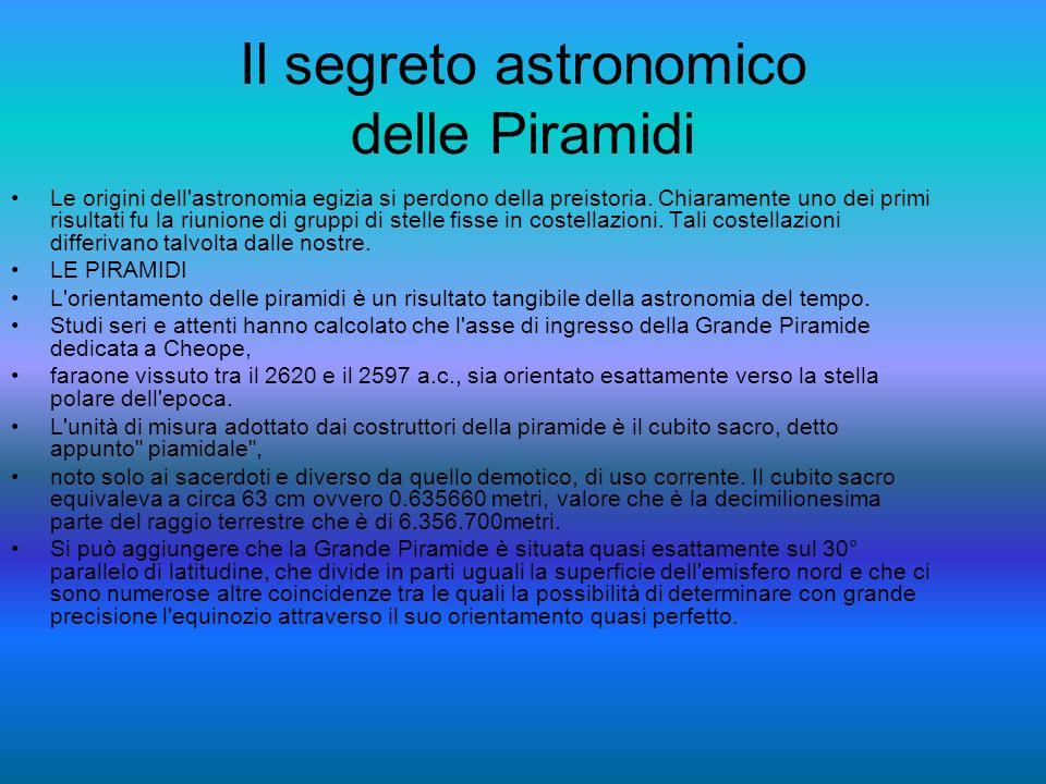 Il segreto astronomico delle Piramidi Le origini dell astronomia egizia si perdono della preistoria.