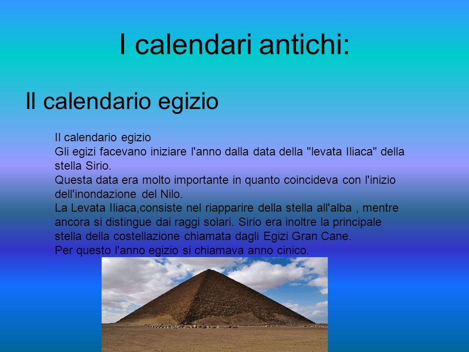 I calendari antichi: Il calendario egizio Gli egizi facevano iniziare l anno dalla data della levata Iliaca della stella Sirio.