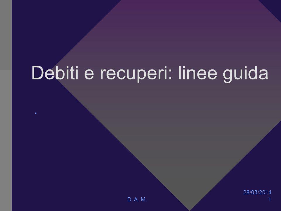 Debiti e recuperi: linee guida. 28/03/2014 D. A. M. 1