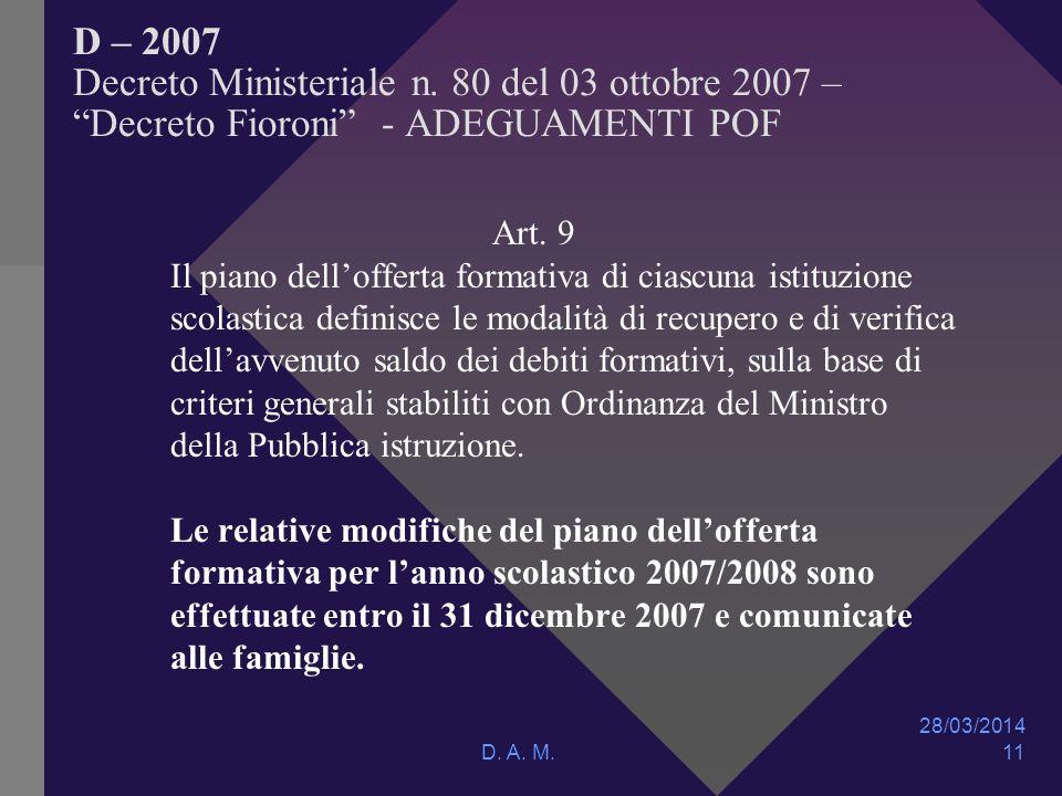 28/03/2014 D. A. M. 11 D – 2007 Decreto Ministeriale n.