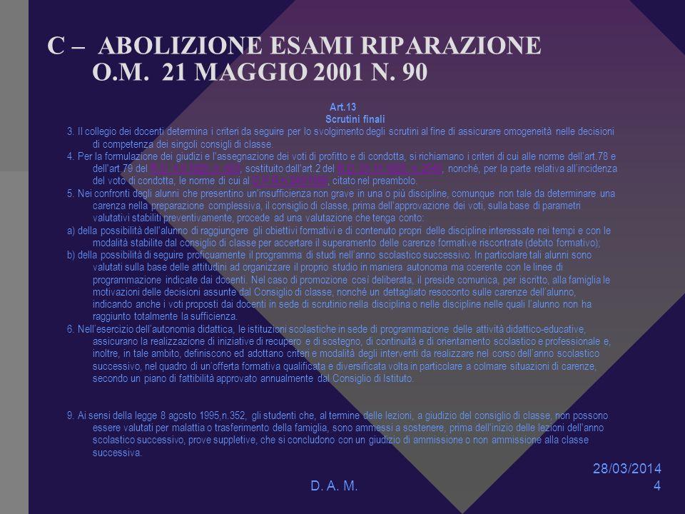 28/03/2014 D. A. M. 4 C – ABOLIZIONE ESAMI RIPARAZIONE O.M.