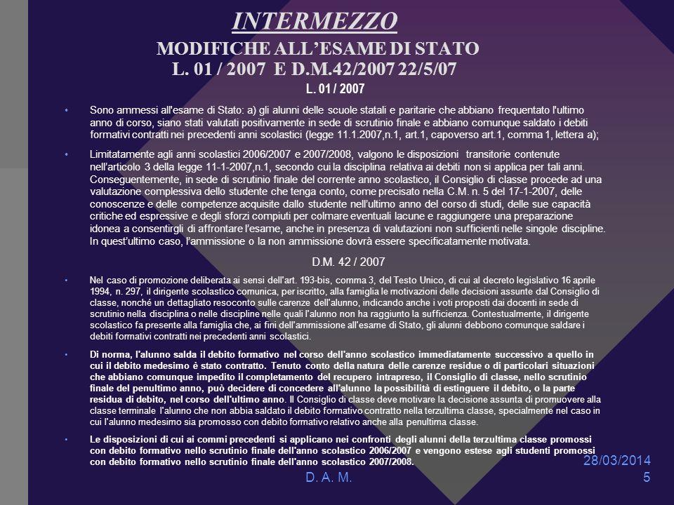 28/03/2014 D. A. M. 5 INTERMEZZO MODIFICHE ALLESAME DI STATO L.