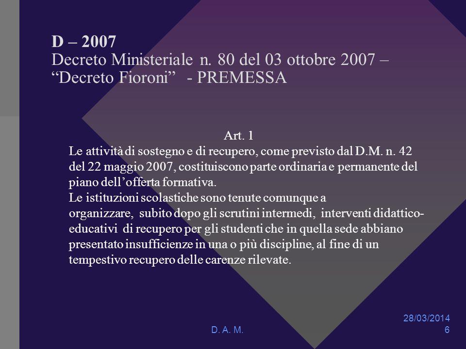 28/03/2014 D. A. M. 6 D – 2007 Decreto Ministeriale n.