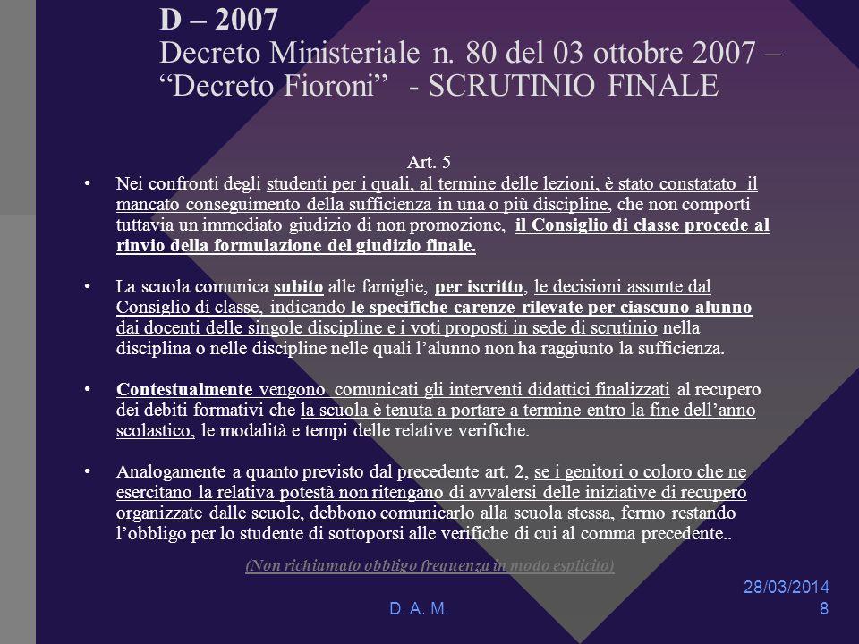 28/03/2014 D. A. M. 8 D – 2007 Decreto Ministeriale n.