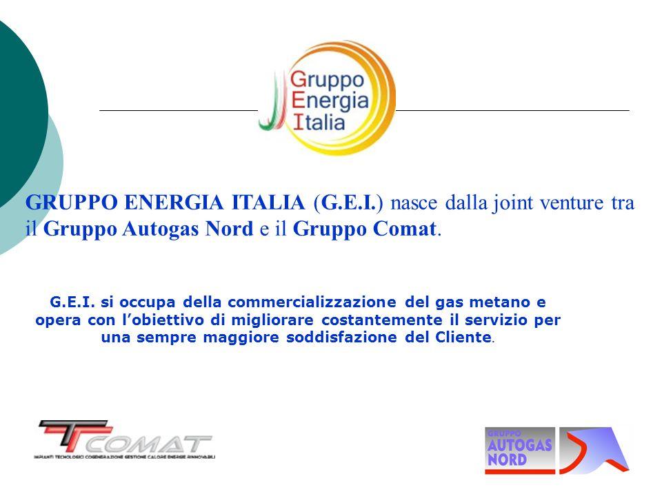 GRUPPO ENERGIA ITALIA (G.E.I.) nasce dalla joint venture tra il Gruppo Autogas Nord e il Gruppo Comat. G.E.I. si occupa della commercializzazione del