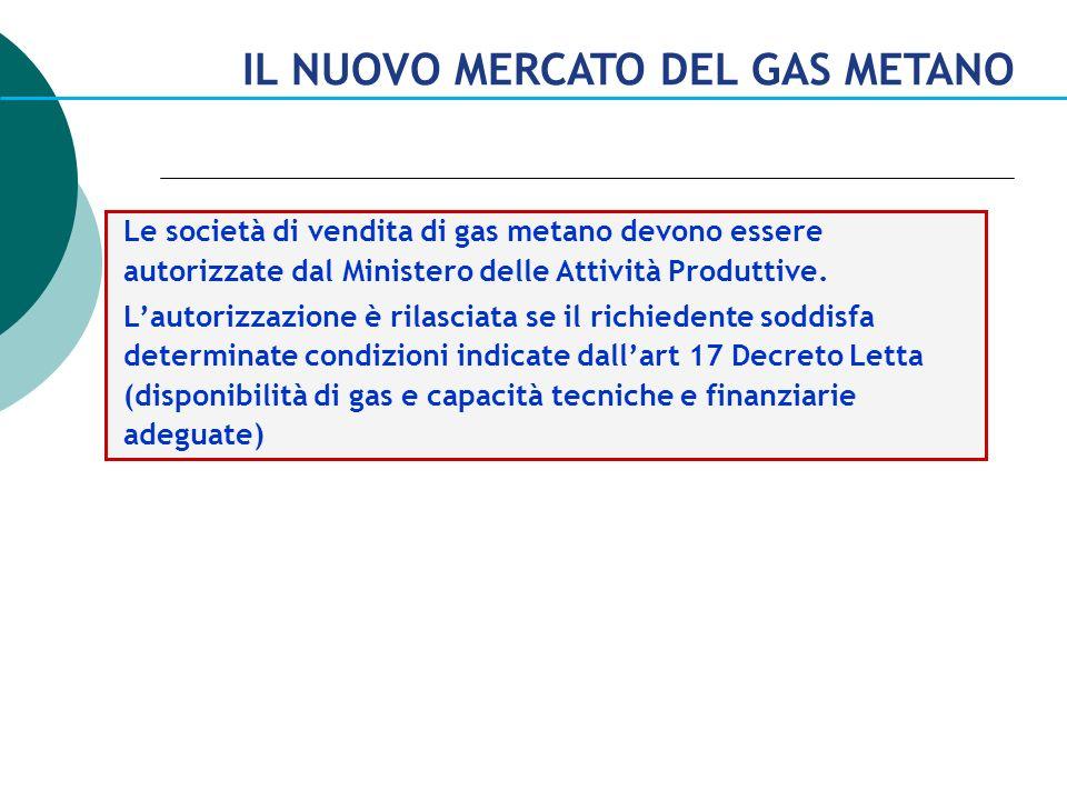 Le società di vendita di gas metano devono essere autorizzate dal Ministero delle Attività Produttive. Lautorizzazione è rilasciata se il richiedente