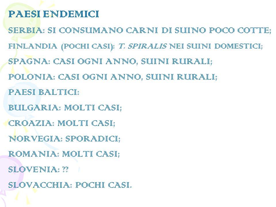 PAESI ENDEMICI SERBIA: SI CONSUMANO CARNI DI SUINO POCO COTTE; FINLANDIA (POCHI CASI ): T.