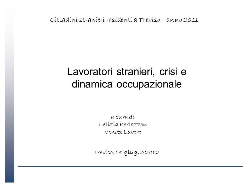 Lavoratori stranieri, crisi e dinamica occupazionale a cura di Letizia Bertazzon Veneto Lavoro Treviso, 14 giugno 2012 Cittadini stranieri residenti a