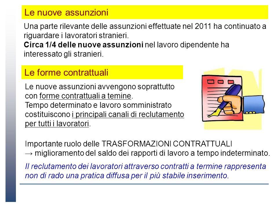 Una parte rilevante delle assunzioni effettuate nel 2011 ha continuato a riguardare i lavoratori stranieri. Circa 1/4 delle nuove assunzioni nel lavor