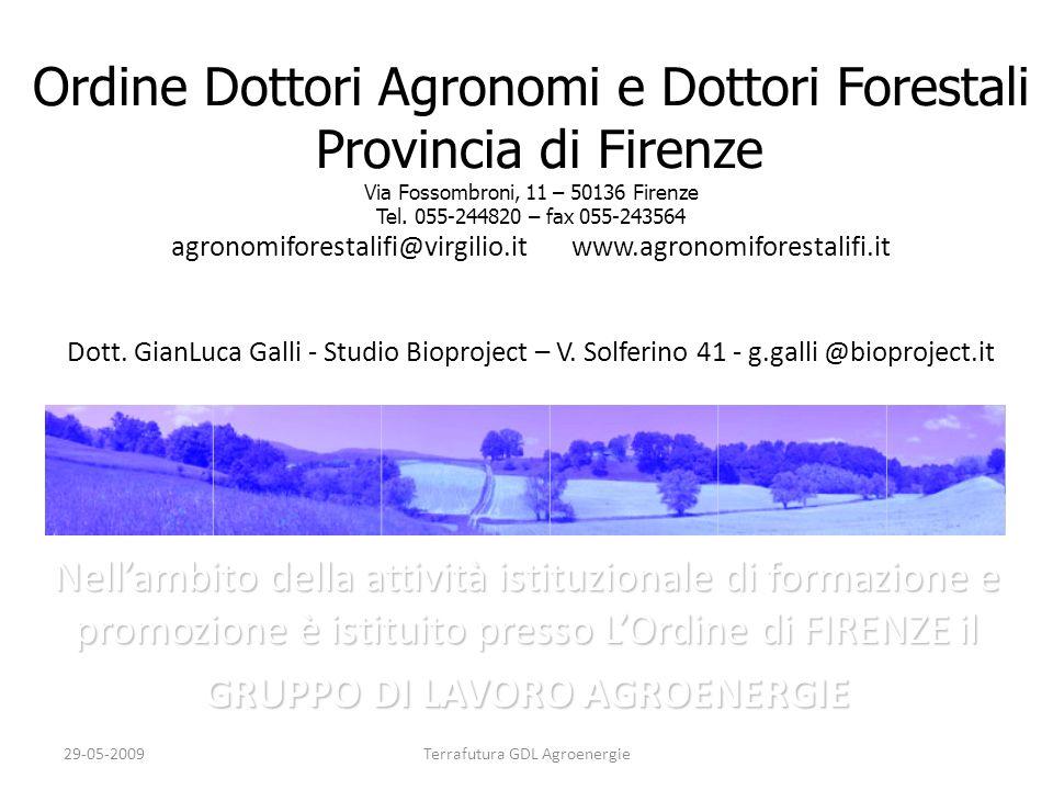 29-05-2009Terrafutura GDL Agroenergie Principi e finalità del GDL AGROENERGIE Promozione e sviluppo delle filiere agroenergetiche quale strumento di autosufficienza e sostenibilità energetica.