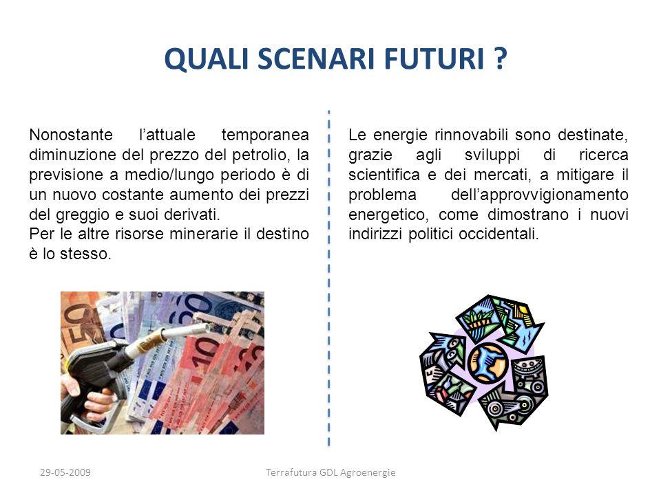 29-05-2009Terrafutura GDL Agroenergie QUALI SCENARI FUTURI ? Nonostante lattuale temporanea diminuzione del prezzo del petrolio, la previsione a medio