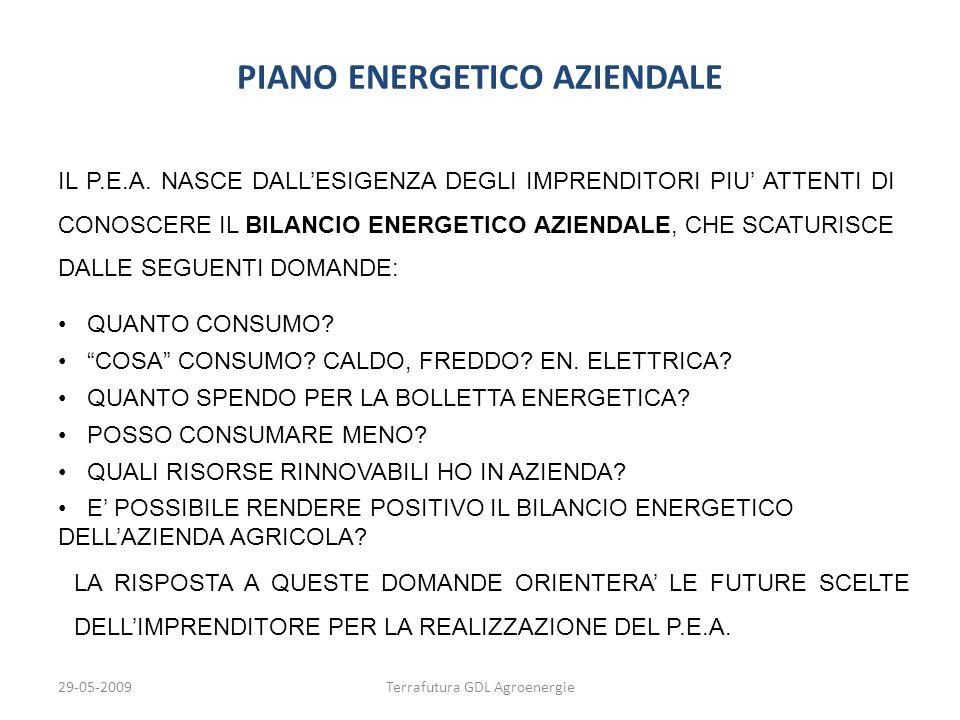 29-05-2009Terrafutura GDL Agroenergie PIANO ENERGETICO AZIENDALE QUANTO CONSUMO? COSA CONSUMO? CALDO, FREDDO? EN. ELETTRICA? QUANTO SPENDO PER LA BOLL