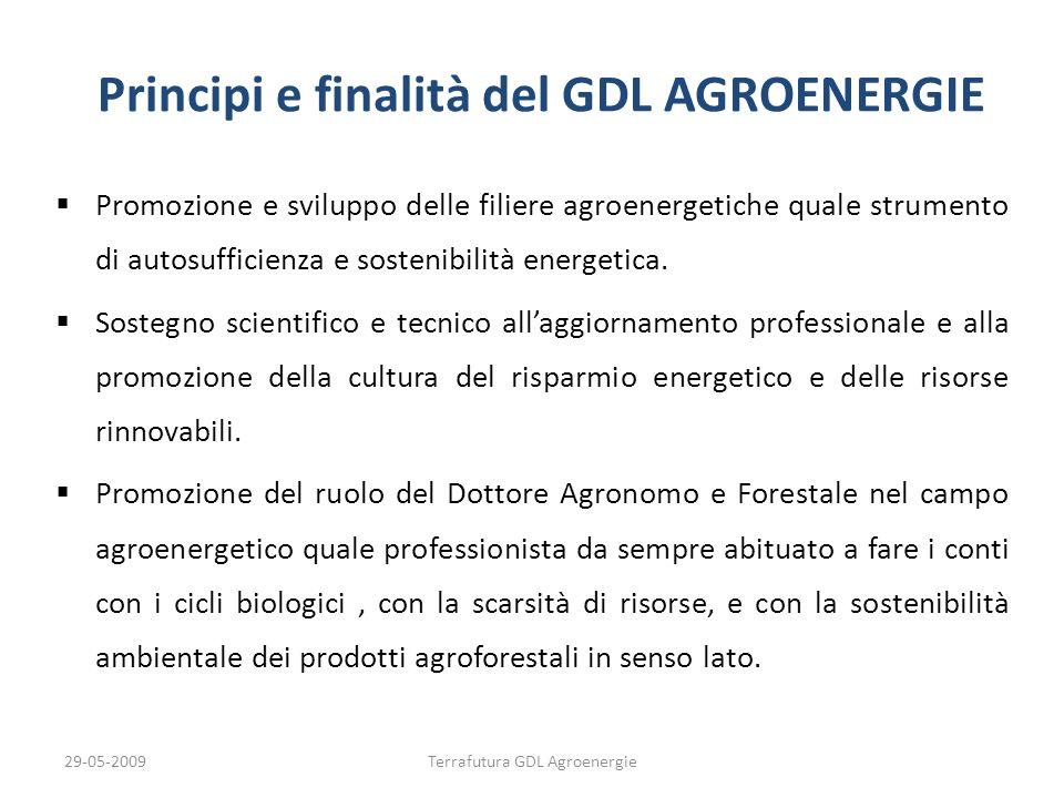 29-05-2009Terrafutura GDL Agroenergie Principi e finalità del GDL AGROENERGIE Promozione e sviluppo delle filiere agroenergetiche quale strumento di a