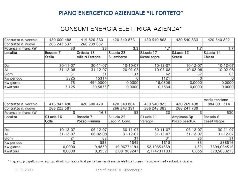 29-05-2009Terrafutura GDL Agroenergie PIANO ENERGETICO AZIENDALE IL FORTETO CONSUMI ENERGIA ELETTRICA AZIENDA* * In questo prospetto sono raggruppati