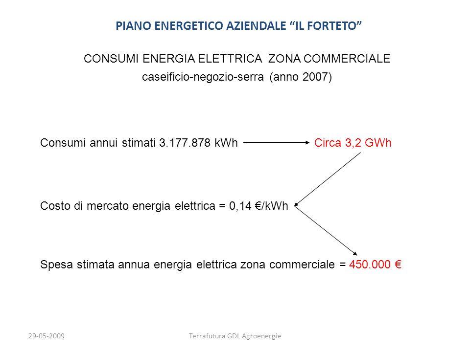 29-05-2009Terrafutura GDL Agroenergie PIANO ENERGETICO AZIENDALE IL FORTETO CONSUMI ENERGIA ELETTRICA ZONA COMMERCIALE caseificio-negozio-serra (anno