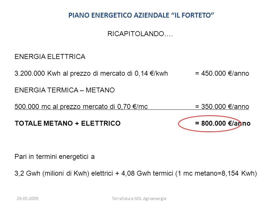 29-05-2009Terrafutura GDL Agroenergie PIANO ENERGETICO AZIENDALE IL FORTETO RICAPITOLANDO…. ENERGIA ELETTRICA 3.200.000 Kwh al prezzo di mercato di 0,
