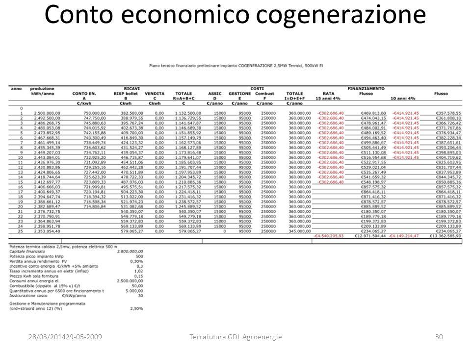 Conto economico cogenerazione 28/03/201429-05-2009Terrafutura GDL Agroenergie30