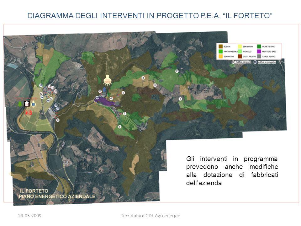 29-05-2009Terrafutura GDL Agroenergie DIAGRAMMA DEGLI INTERVENTI IN PROGETTO P.E.A. IL FORTETO Gli interventi in programma prevedono anche modifiche a