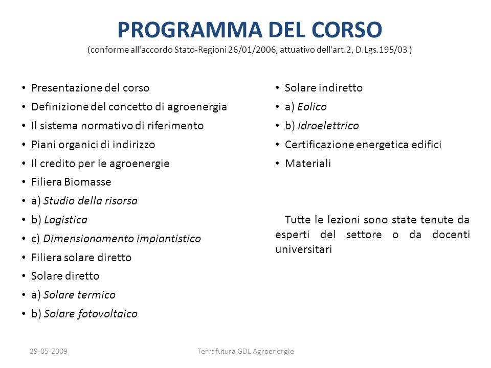 29-05-2009Terrafutura GDL Agroenergie PROGRAMMA DEL CORSO (conforme all'accordo Stato-Regioni 26/01/2006, attuativo dell'art.2, D.Lgs.195/03 ) PROGRAM