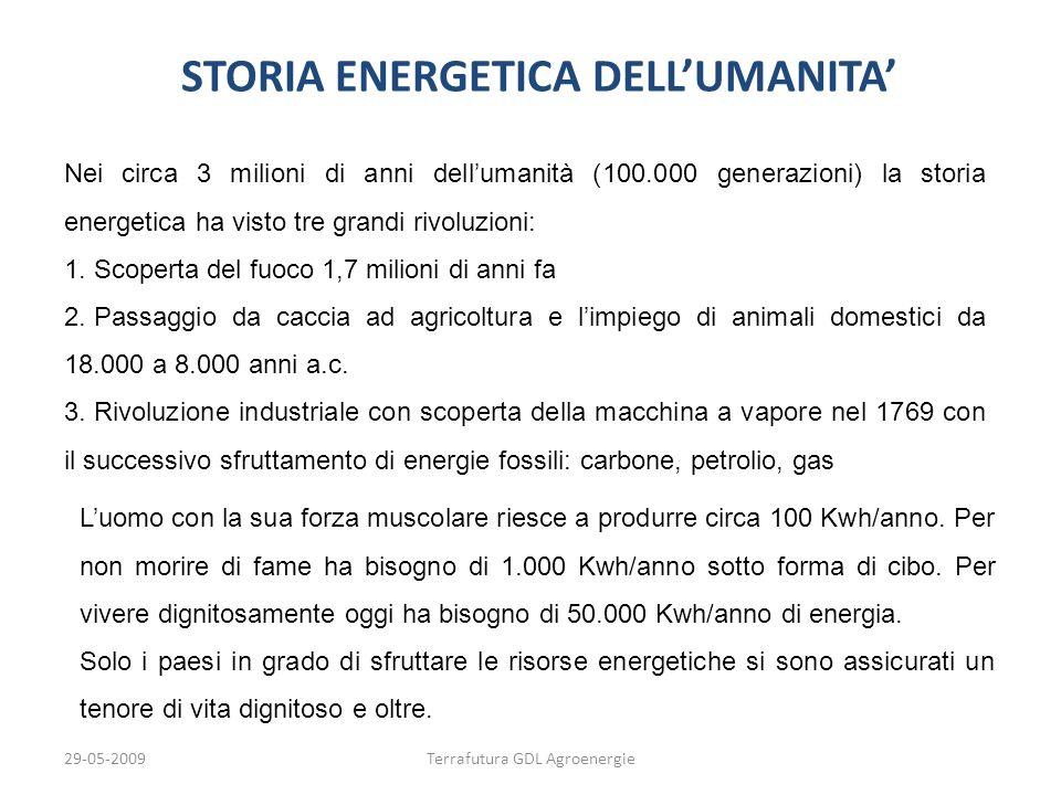 29-05-2009Terrafutura GDL Agroenergie STORIA ENERGETICA DELLUMANITA Labbondanza di energia di cui disponiamo oggi nelle società più evolute e che usiamo come forza motrice, energia termica ed elettricità è dovuta principalmente al petrolio, che è sempre stato abbondante e relativamente economico.