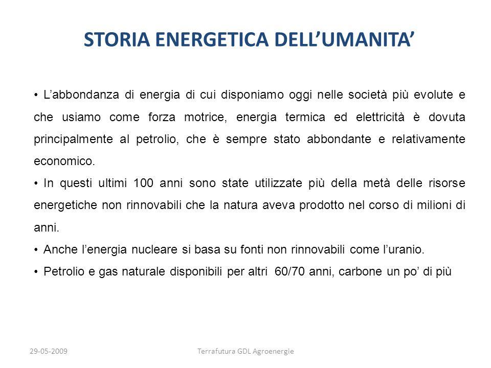 29-05-2009Terrafutura GDL Agroenergie STORIA ENERGETICA DELLUMANITA Labbondanza di energia di cui disponiamo oggi nelle società più evolute e che usia