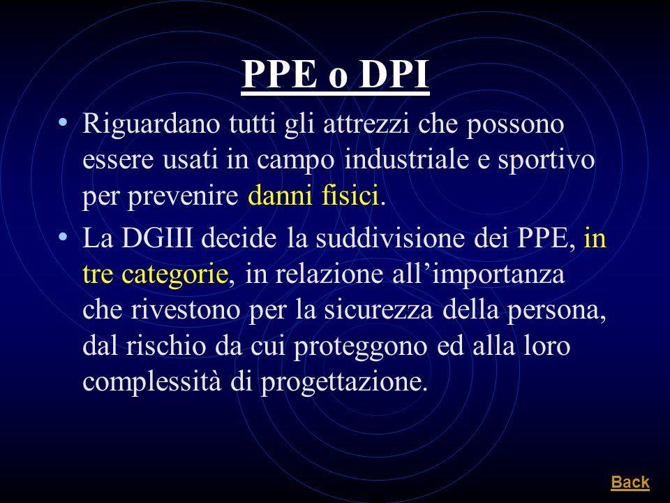 PPE o DPI Riguardano tutti gli attrezzi che possono essere usati in campo industriale e sportivo per prevenire danni fisici. La DGIII decide la suddiv