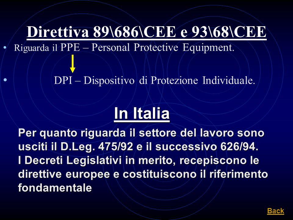 Direttiva 89\686\CEE e 93\68\CEE Riguarda il PPE – Personal Protective Equipment. DPI – Dispositivo di Protezione Individuale. In Italia Per quanto ri