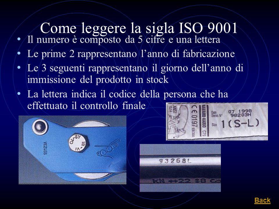 Come leggere la sigla ISO 9001 Il numero è composto da 5 cifre e una lettera Le prime 2 rappresentano lanno di fabricazione Le 3 seguenti rappresentan